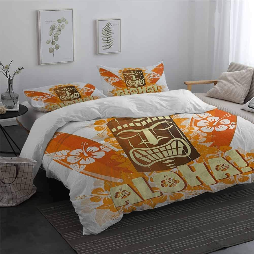3 Piece Bedding Sets with Zipper Closure Tiki Bar Hibiscus Flora Burst Orange Surfboards Aloha Tropical Summer Season Extra Soft Deep Pockets Orange Brown Pale Yellow Long Twin
