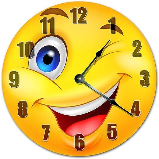 "Indoor//Outdoor Wink Wink Smiley Face Emoji Metal Round Circular Sign 12/"""