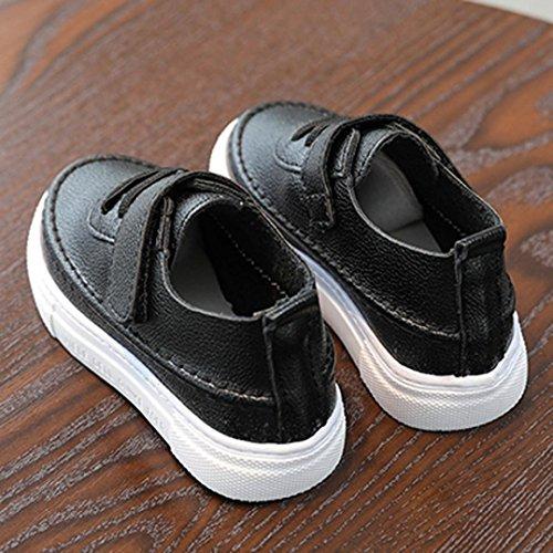 Jamicy® Kinderschuhe, Baby Jungen Mädchen Casual Leder Flache Schuhe Schwarz