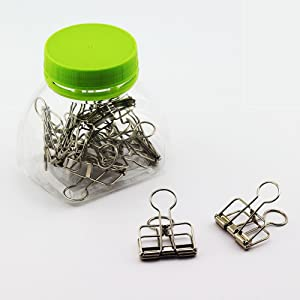 NXG 12 Pack Medium Metal Wire Binder Clips, Office Supplier School Accessories,Colorful Hollow Out Paper Organizer, Paper Binder Clip (Silver)