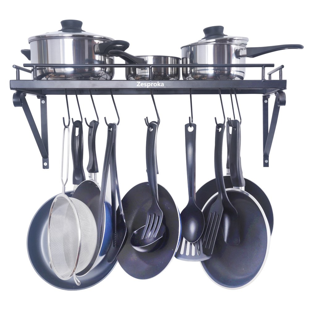 amazon com zesproka kitchen wall pot pan rack with 10 hooks