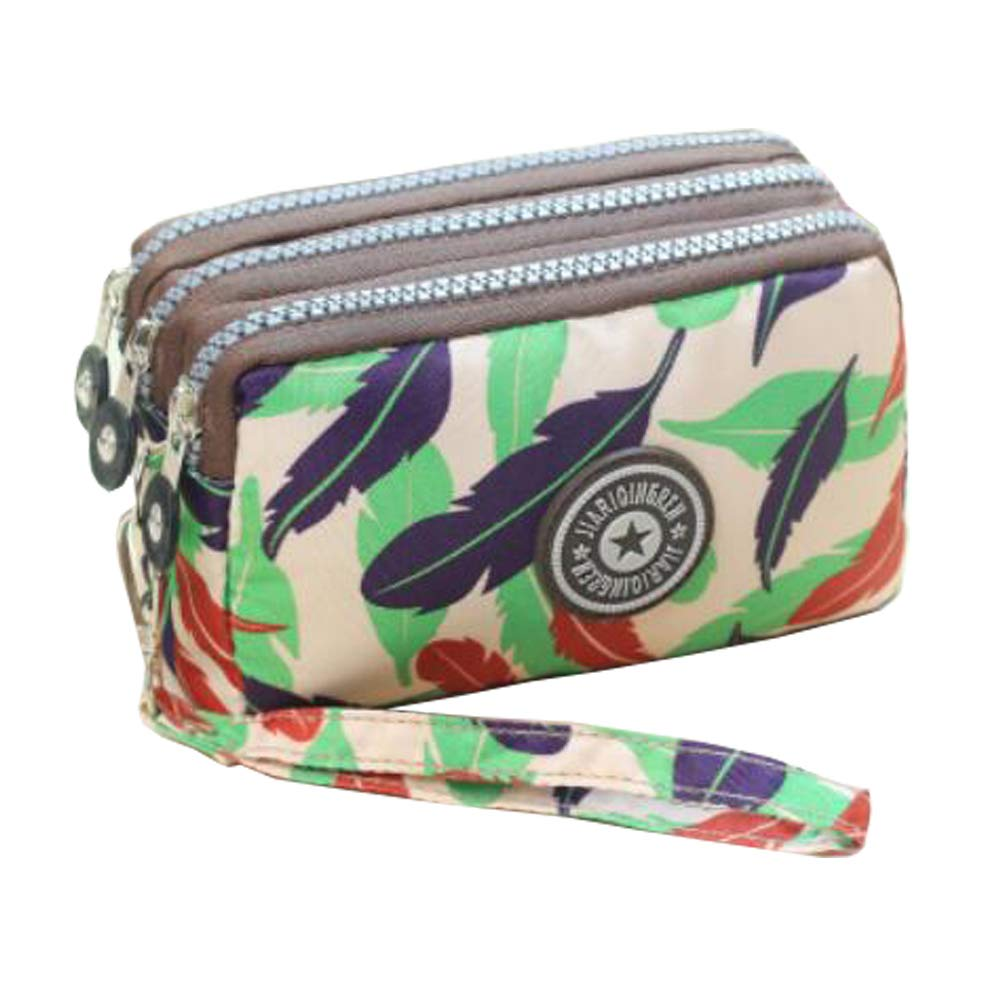 Ladies Fashion Small Card Case Wallet Change Coin Purse Pouch Bag with Zipper, Colorful Feather