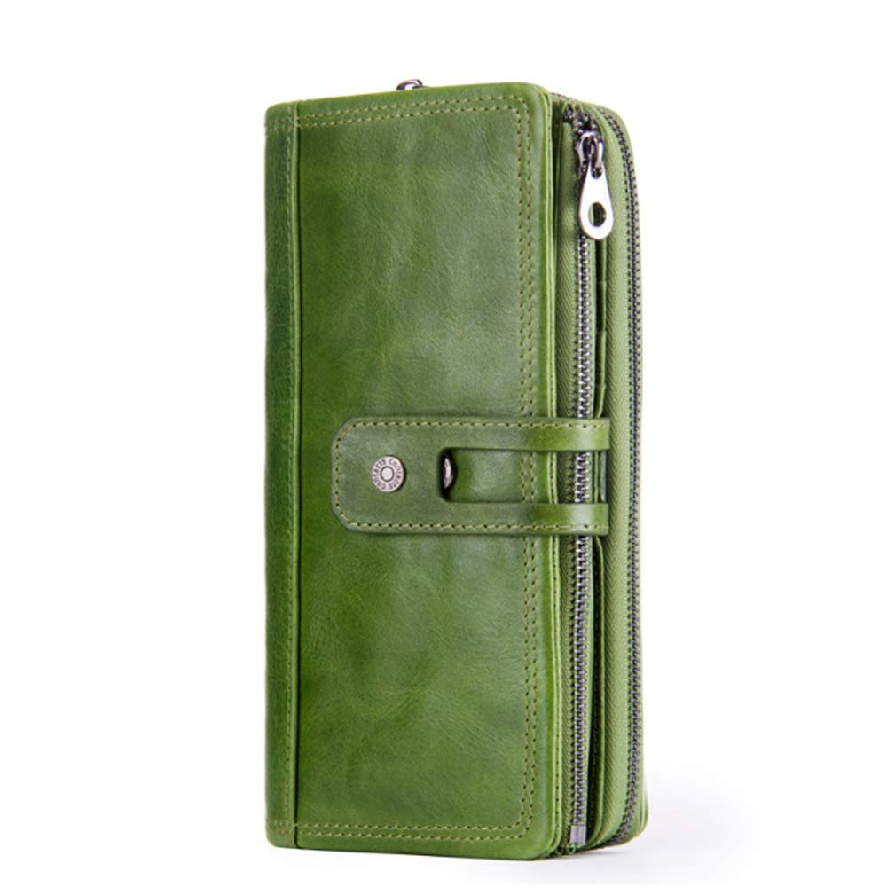 Leather Mens Bag Leather Multi-Function Vintage Mens Wallet Buckle Clutch Mens Fashion Color : Green, Size : S