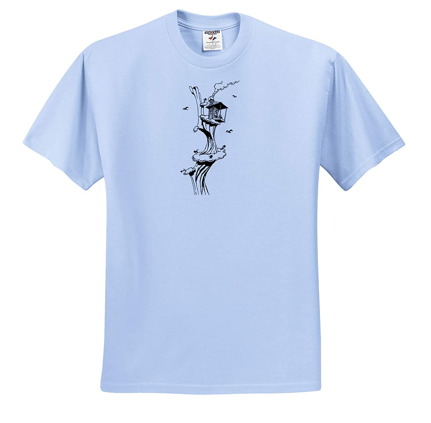 3dRose Travis ECK ts/_317522 Cabin in The Sky Art Adult T-Shirt XL