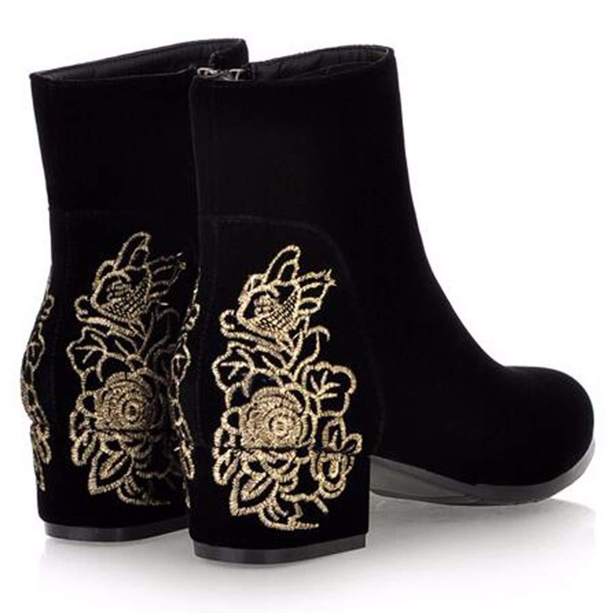 KPHY Damenschuhe Im Herbst und Winter Bestickte Stiefel Vereiste Dicke Betuchte Stiefel Nahen Betuchte Nationalen Stil Mutter Schuhe