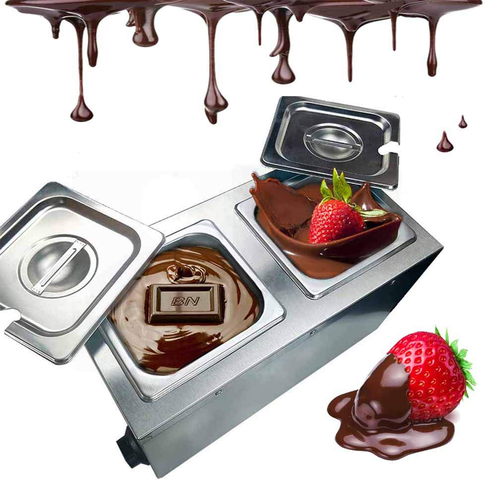 Li Bai Commercial Chocolate Melting Machine Electric Fountain Pot Liquid Warmer 300W 4L Capacity 2 Tanks for Chocolate Candy Butter Cheese Caramel Soup and More by Li Bai (Image #1)