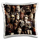 3dRose Mask stall at African curio market, Cape Town, South Africa. - Pillow Case, 16 by 16-inch (pc_187950_1)