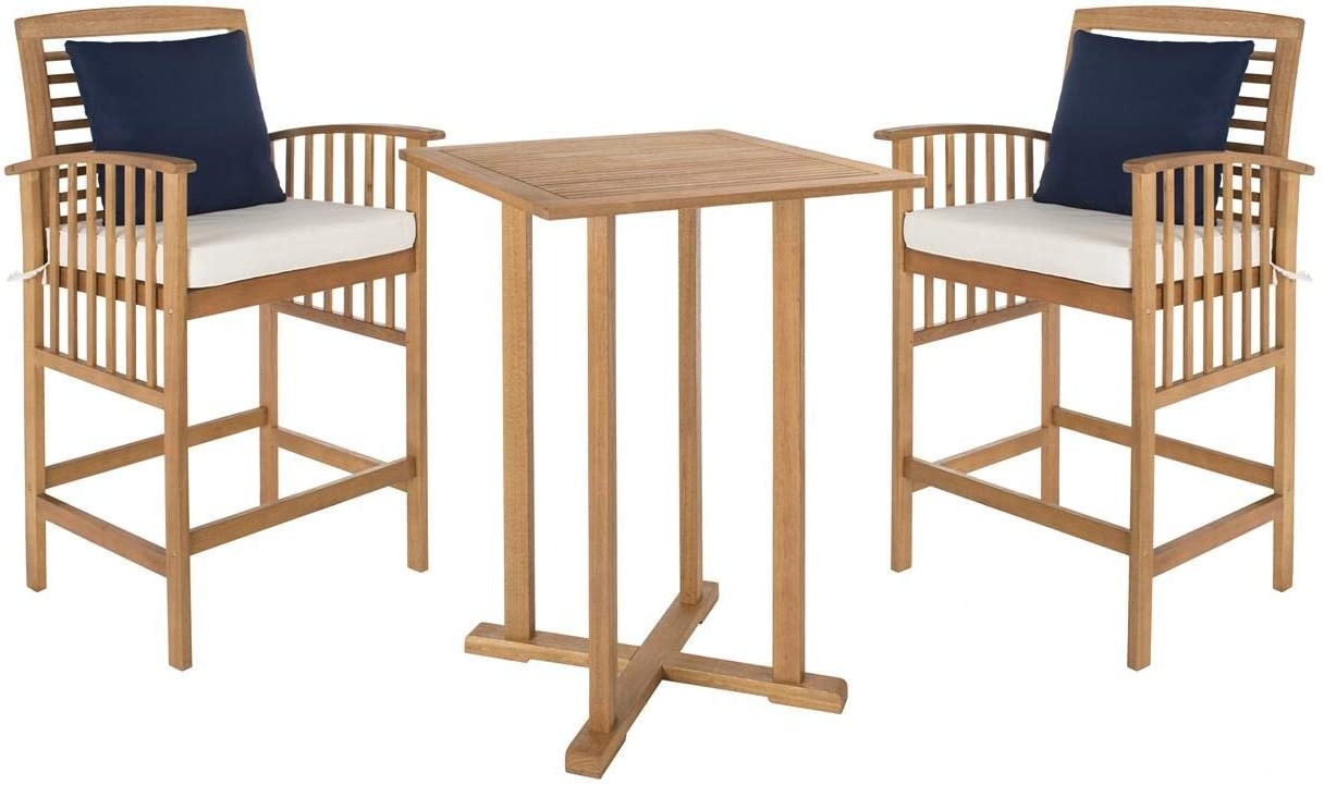 """Safavieh PAT7043A Outdoor Collection Pate Teak and White 3 Pc 39.8"""" Bar Table Bistro Set, Brown/Beige"""