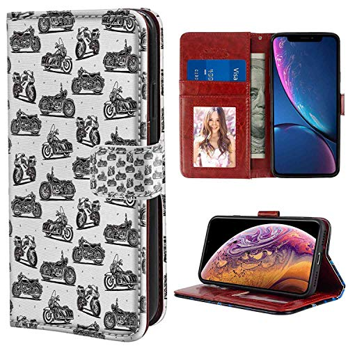 Motorcycle Motorcycle Drawings of Old-Fashioned and Modern on White Background Charcoal Grey White Apple iPhone Xr Wristlet Wallet Case (2018) (6.1-Inch) with Card Holder Case