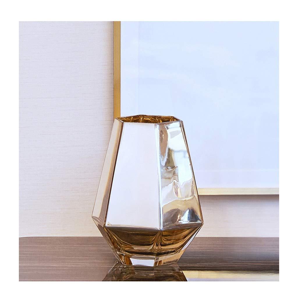 ガラス花瓶 ガラス花瓶伝統的なクリスタルカットデザイン装飾的な家族の結婚式の装飾 B07T3BRC36