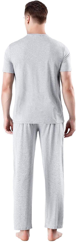 Abollria Pijama Hombre Verano Corto 2 Piezas,Camiseta Corto y Pantalones Largos Ropa de Dormir Set