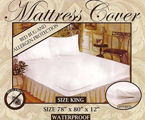 Zippered Fabric Waterproof / Bed Bugs Proof Mattress Cover. (King)