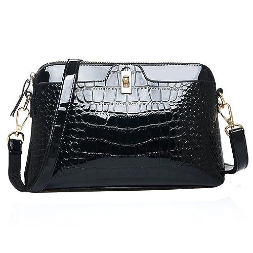 b3b3e95a1e11 PU Patent Leather Alligator Handbag Shoulder Bag Cross Body Bag
