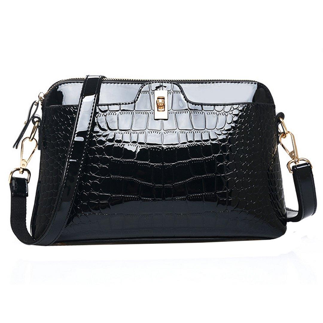 Aisa Fashion Ladies Crocodile Grain Pattern Handbag Tote Single Shoulder Bag Cross-body Satchel PU Leather Shell Bag (Black)