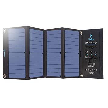 BigBlue 28W Cargador Panel Solar Impermeable Placa Solar Plegable con 3 USB Puertos para Móviles, Tablets, GoPro y Otros Dispositivos Digitales