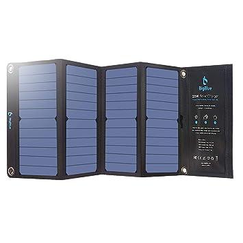 BigBlue 28W Cargador Panel Solar Impermeable Placa Solar Plegable con 3 USB Puertos para Móviles, Tablets, GoPro y Otros Dispositivos Digitales
