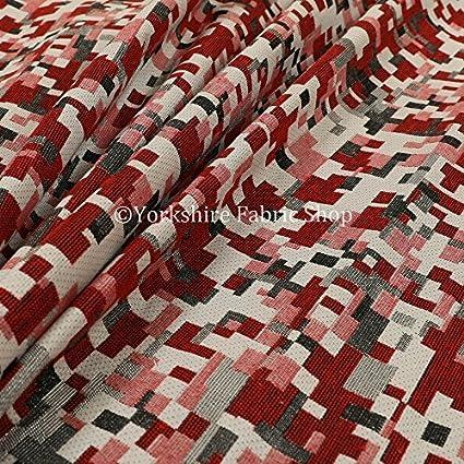 Moderne Motif Geometrique Rouge Blanc Gris Leger Tapisserie Tissu D