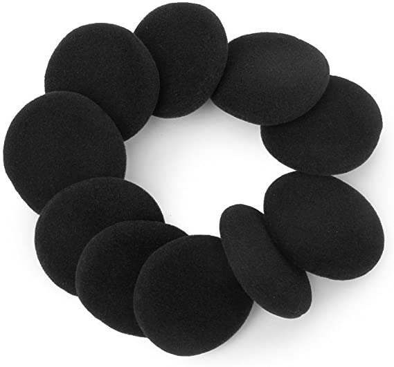 JHGJ 10 Pairs 60mm//2.4 Replacement Foam Ear Pad Earpads Sponge Cushion Covers Compatible with MDR-027,MDR-222,SRF-H4,MDR-NC5,MDR-NC6s,MDR-023 Headset Black