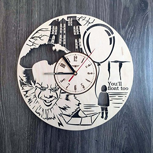 Pennywise Stephen King It Wall Clock Made of WOOD - Perfect and Beautifully Cut - Decorate your Home with MODERN ART - UNIQUE GIFT for Him and Her - Size 12 Inches