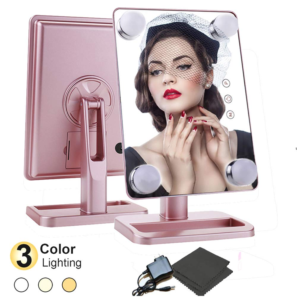 Makeup Mirrors with Lights,Lighted Vanity Mirror, Hollywood Tabletop Makeup Mirror, Cosmetic Mirror for Girls Bedroom and Vanity Table Decor(Rose Gold)