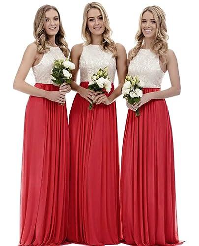 XJLY A Line Lace Chiffon Floor Length Bridesmaid Dress Wedding Party Dress