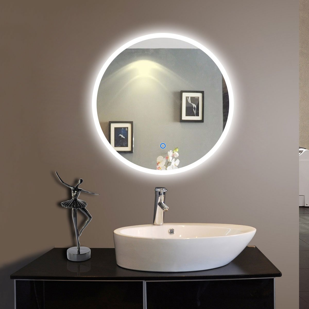 24 in. 24 in Round LED Bathroom Silvered Mirror/Touch Button(D-CL065-1)