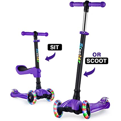 GOOGO Patinete de 3 Ruedas para Niños de 3 a 12 Años Scooter 3 Wheels con Luces LED, Barra Ajustable, Kick Scooter for Girl Boy