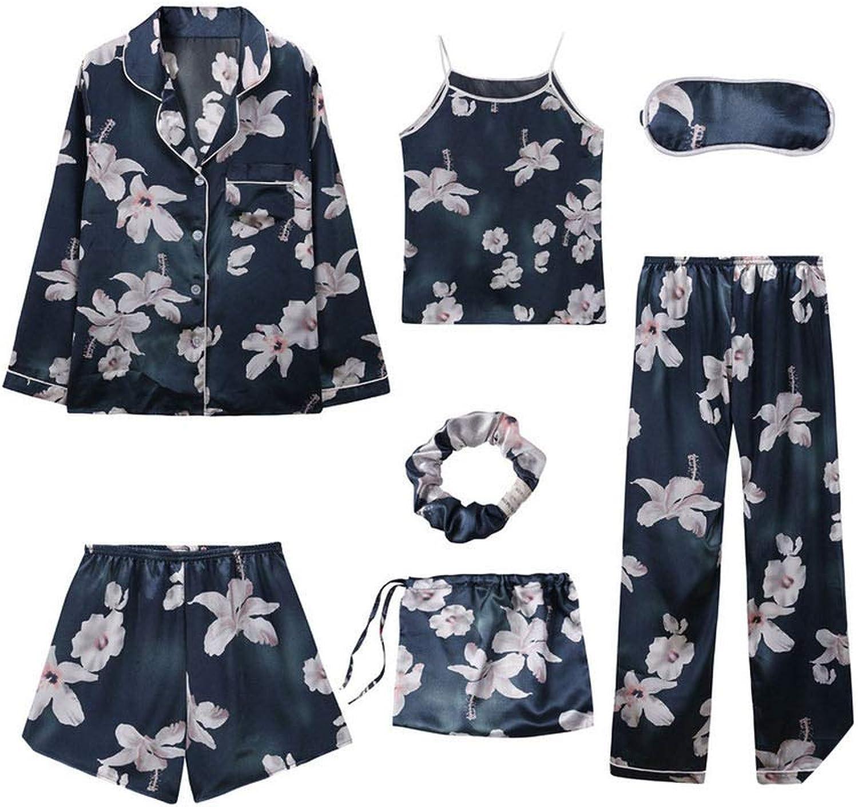 Pijama de 7 Piezas para Mujer, Pijama de Seda sintética ...