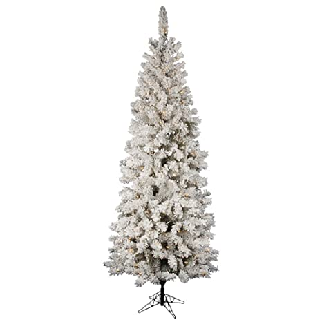 Vickerman Flocked Pacific Pine 8 5 Artificial Pencil Christmas Tree With Led Lights
