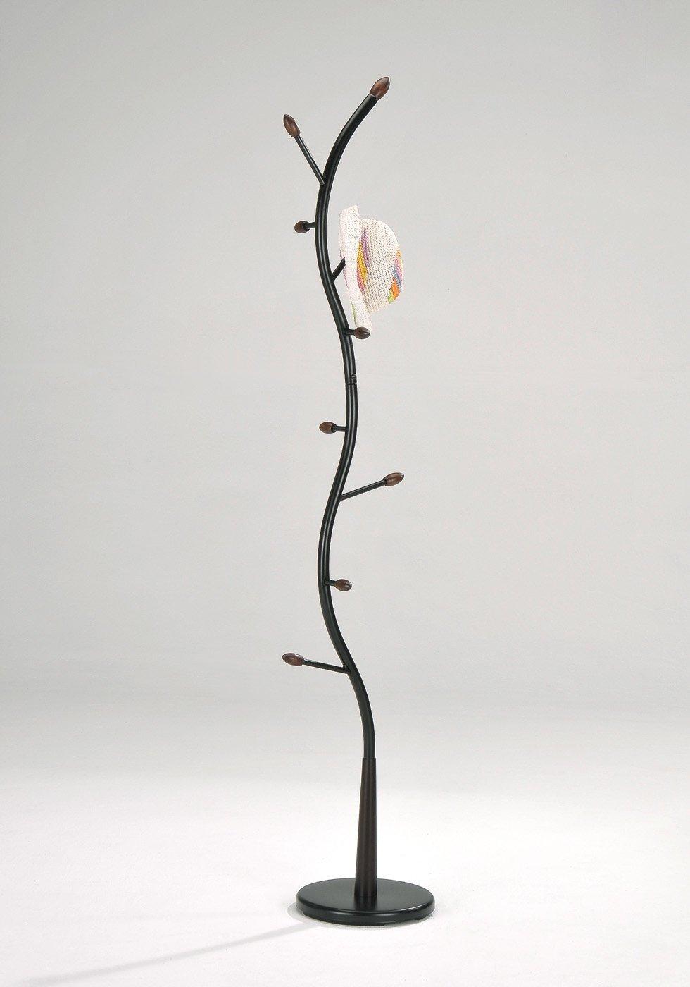 1 X Black Metal Walnut Wood Hall Tree Coat Hat Rack by eHomeProducts