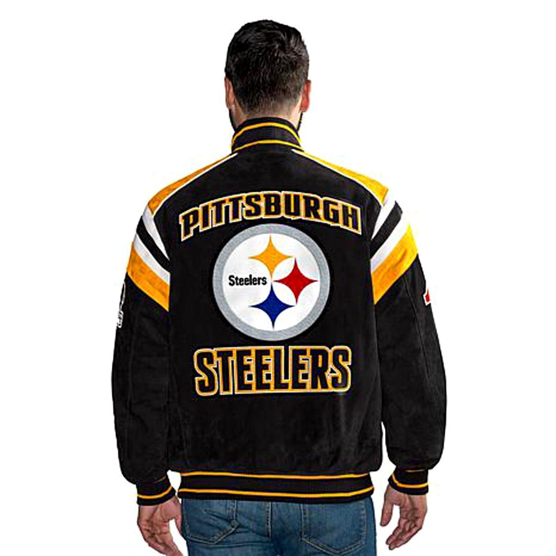 best sneakers da17d 85e73 Pittsburgh Steelers Suede Leather Jacket NFL Coat