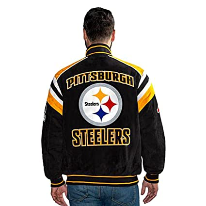 finest selection e05a9 f2a10 Pittsburgh Steelers Suede Leather Jacket NFL Coat (S)