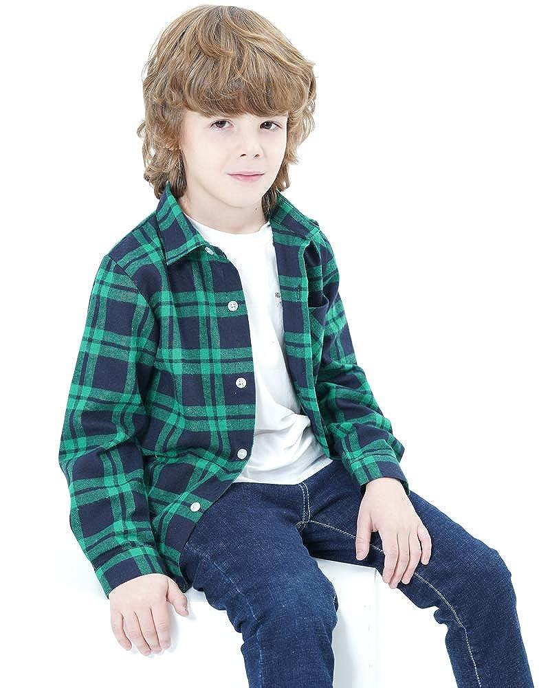 Welity Boys /& Girls Plaid Flannel Button Down Shirt