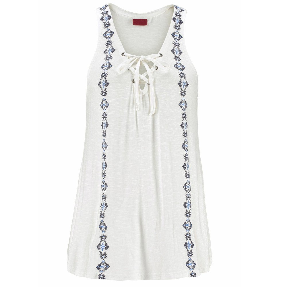 Summer Vest Tops for Womens Print Sleeveless Vest Fashion Tied Tank Top Casusal T-Shirt Blouse White