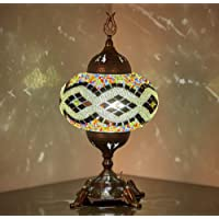 (15 Colors) Battery Operated Mosaic Table Lamp with Built-in LED Bulb, Turkish Moroccan Handmade Mosaic Table Desk…