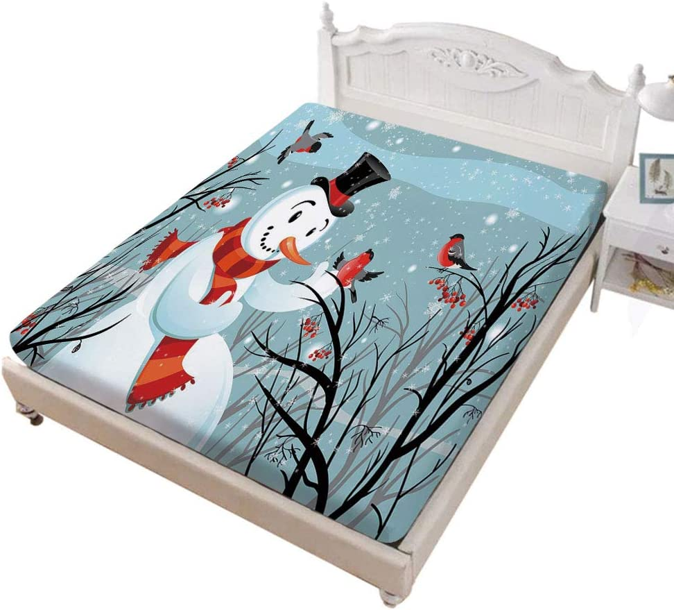 Full Size Fitted Sheet,Snowy Winter Tree Branches Berries Bullfinch Birds Snowman Hat Decorative Soft Wrinkle Resistant Microfiber Fitted Sheet,Deep Pocket for Kids & Adults,Almond Green Black Orange