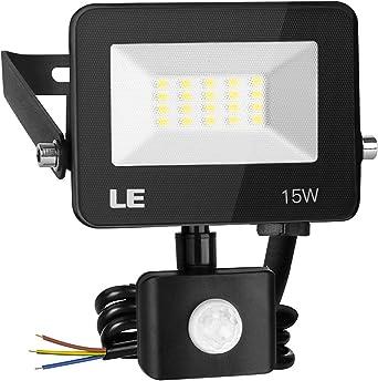 LE 15W Foco LED Exterior con Sensor Movimiento PIR, 1500 lumen, Foco LED Sensor IP65 Impermeable,