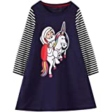 HILEELANG Girl Dress Long Sleeve Casual Cotton Tulle Tutu Christmas Birthday Party Playwear Basic Tunic Shirt Dresses