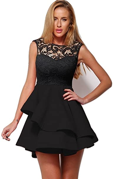 4fe6cb256d6d Ladies Lace Bodice Pleated Double Frill Skater Dress US Size 6-14 at ...