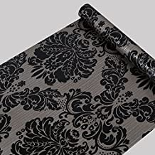 Self Adhesive Black Damask Wallpaper Contact Paper Shelf Liner for Kitchen Drawers Cabinets Shelves Countertops Wall Decal (17.7x393 Inch)