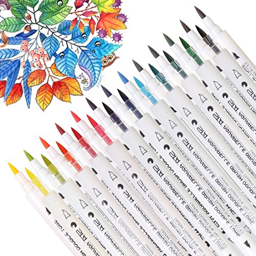 Dual Tip Watercolor Brush Markers, Double Tone Sketch Markers,Calligraphy Pens for Adults&Kids Coloring Book, Drawing, Design, Bullet Journal - 28 Assorted Colors by Dainayw