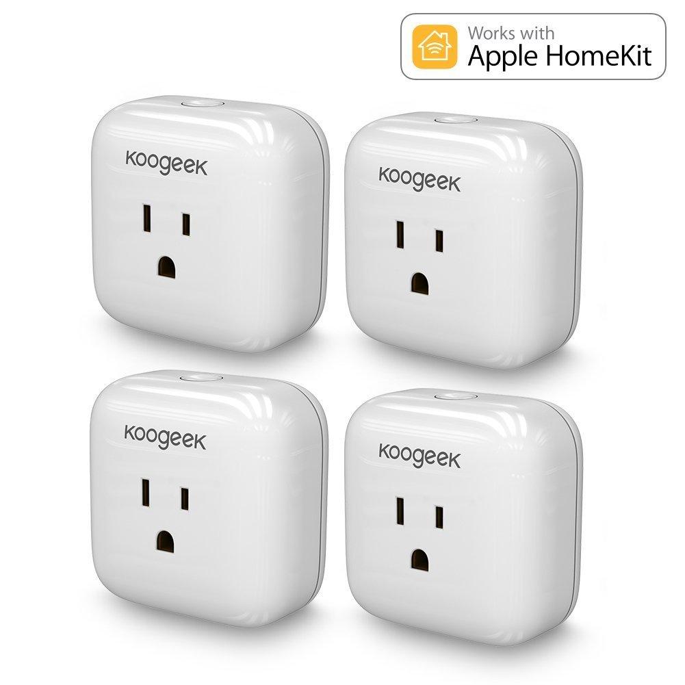 Koogeek WiFi Smart Plug Energy Monitoring, Compatible with Amazon Alexa, Apple HomeKit and Google Assistant [4 Packs]