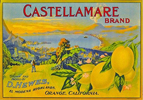 A SLICE IN TIME Orange County Hewes' El Modena Highlands Castellamare Italy Lemon Citrus Fruit Crate Label Art Print ()