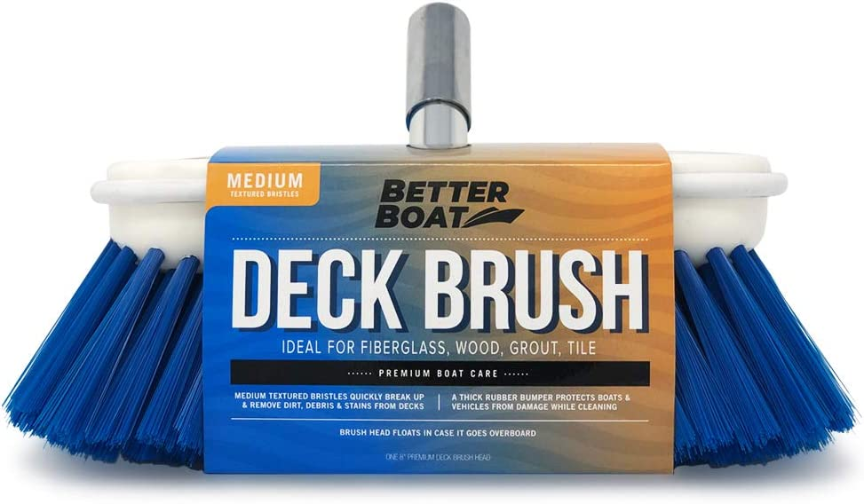 "Better Boat Deck Brush Medium Bristle 8"" Head Scrub Cleaning with Bumper 3/4"" Thread"