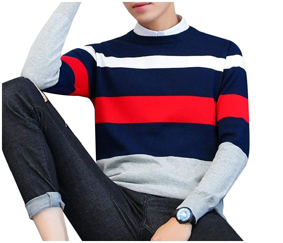 Coolred-Men Loose Contrast Comfort Round Neck Striped Pullover Knitwear