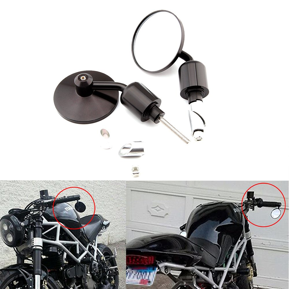 Universal Black Motorcycle Aluminum Rearview Side Mirrors 7/8' Bar End For Cafe Racer Bobber Cruiser Scooter (Black#1) Rich Choices