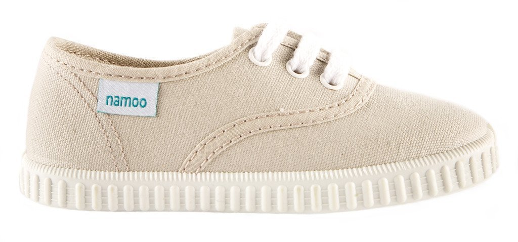 Namoo Kids Lace Sneaker for Boys and Girls, Cotton and Rubber Sole, Baby / Toddler / Kid Shoe (Beige)