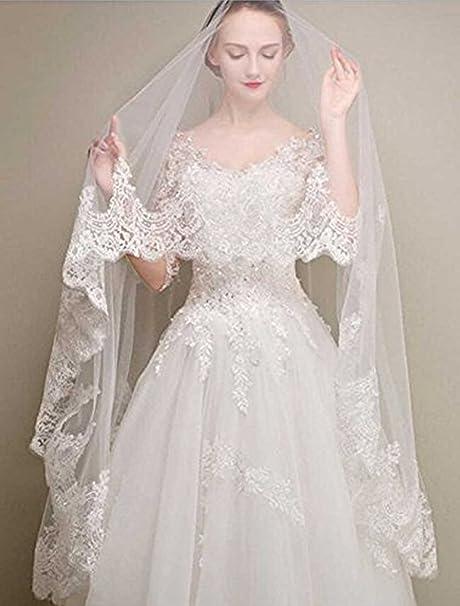 Velo de encaje blanco para novia con flores blancas y diamantes de imitación, sin dedos, para mujeres, de 1 tramo, de Aukmla: Amazon.es: Belleza