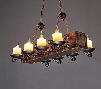 Pendelleuchten Holz Pendelleuchte Wohnzimmer Esszimmer Vintage Kronleuchter  Rechteckigen Holz Kronleuchter Restaurant Kronleuchter: Amazon.de:  Beleuchtung