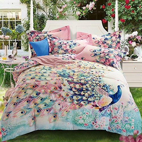 Newrara Stunning Peacock Showing Tail Print 100% Sanded Cotton 4-Piece Bedding Sets/Duvet Cover Set,Not Include Comforter (c6, Full)